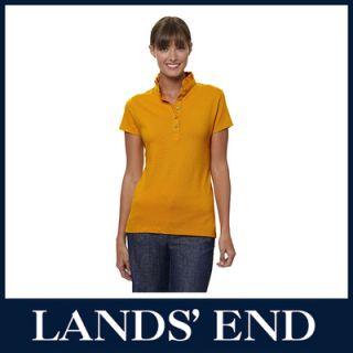 LANDS END Damen Piqué Poloshirt Shirt Polo gelb  66%