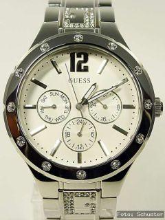 GUESS Edelstahl Damenuhr Damen Uhr NEU silber G Hype Strass W14550L1