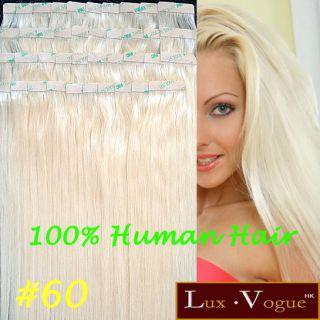 40pcs 100% Remy Hair Echthaar Haarverlängerung 3M Tape Extensions #60