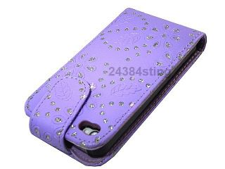 DIAMOND BLING GLITTER LEATHER FLIP CASE COVER POUCH for iPHONE 4S
