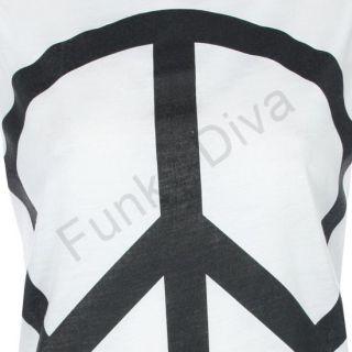 Damen T Shirt Hemd Tank Top Mit Aufdruck Friedenszeichen Ärmellos