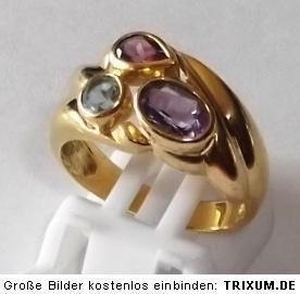eleganter Ring 750 Gold 18K 6,3 g Gr. 55 56 Amethyst+Granat+Blautopas