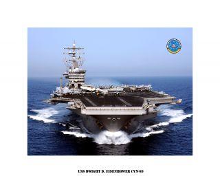 USS Dwight D. Eisenhower CVN 69 Naval Ship Photo Print, USN Navy