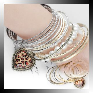 Set Vintage Leopard Grain Heart Pearl Multi Layers Bangle Chain