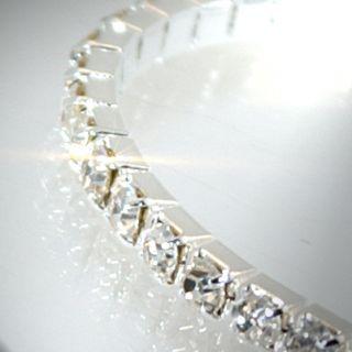 A572 NEU Luxus Stretch Armband m. Strass Silber Schmuck/Damen Mode
