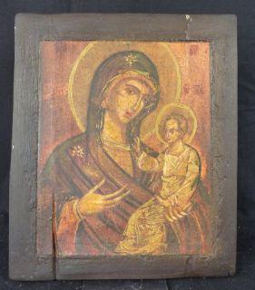 Moderne Ikone Druck auf Holz Mutter Anna Maria Vorbild Griechenland