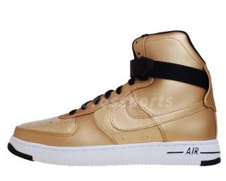 Nike Wmns Air Feather Hi PRM Gold Leather Black Shoes 395751701