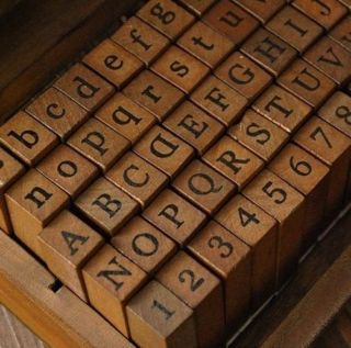70tlg Stempel set box holz stempelset Alphabet buchstaben Letters