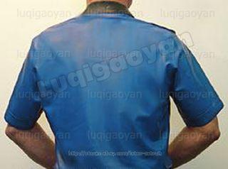 100% Latex Rubber Gummi Militär Militar Shirt Hemd T Shirt Catsuit