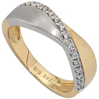 Damenring mit 16 Diamanten Brillanten, 585 Gold gelb/weiß, Ring Damen