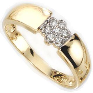 mit 7 Diamanten Brillanten & 585 Gold Gelbgold, Fingerschmuck