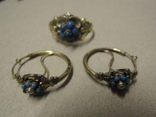 alte Teile Trachtenschmuck , Ring 585 Gold + 1 Paar Ohrringe 19.Jhrt