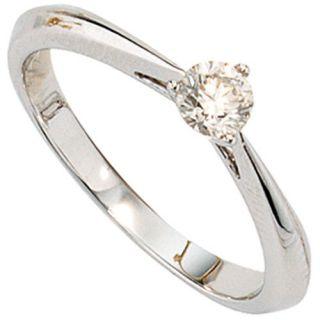Ring Diamantring für Damen, 585/  Gold Weißgold mit Diamant Brillant