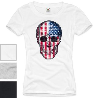 USA Skull Damen T Shirt Totenkopf Vintage Amerika United States XS S M