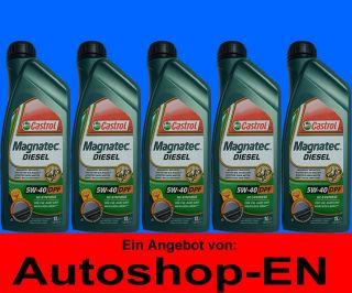 Castrol Magnatec Diesel 5W 40 DPF 5X 1 Liter 5W40 VW MERCEDES BMW FIAT