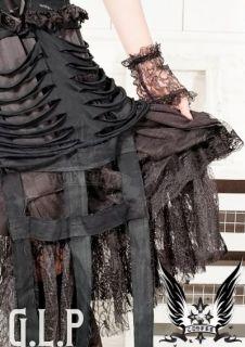 GLP Gothic Lolita Punk Rock schwarz schwarz weiß lang XS L Karneval