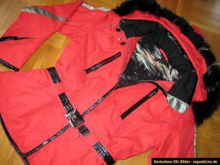 Super Damen Skijacke Langmayana echt Pelz Kapuze rot 40   42 neu