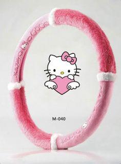 Neu Hello Kitty Auto Plüsch Auto Lenkrad Bezug Pink 016