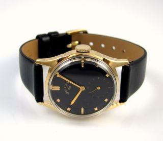 Vintage Lord Elgin 14k Gold Black Dial Leather Band Mens Watch │J