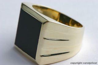 Herrenring mit Onyx 14 Karat 585 Gold Onyxring