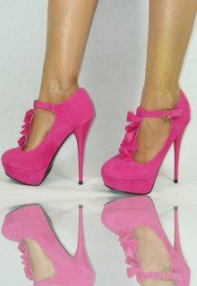 Damenschuhe Pink 35 40 Damen High Heels Pumps Plateau PartyDisko Abend