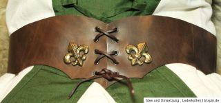 Gürtel Hüftgürtel Damengürtel Leder   braun Trachten Mittelalter