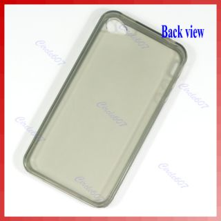 Grey TPU Gel Clear Back Cover Case Fr iphone 4G Plastic