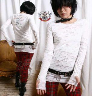 RTBU Goth Punk Mummy Corroded Sheer HOLE Shirt+Mitten S