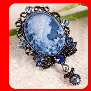 New Vintage Style CAMEO Pin Brooch & Pendant, Blue