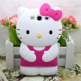 Hot pink 3D Silikon Hülle Hello Kitty Soft Cover für Samsung S3