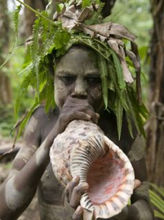 Tanna Island Fetukai, Native Dress Young Boy with Sea Shell Horn, Vanuatu Photographic Print by Walter Bibikow