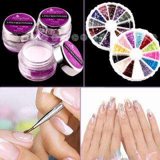 XXL Nagelstudio SET Nail Art Acyl Puder Nagel Tips Glitter Sticker