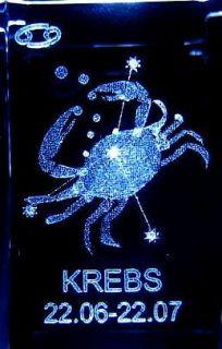 3D Laser Kristall Sternzeichen Krebs + 3 LED Base S1