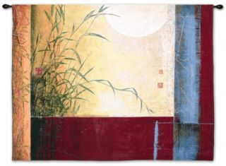 A Dark Blue Sky with the Small Silver Moon Illuminated Wall Tapestry by Don Li Leger