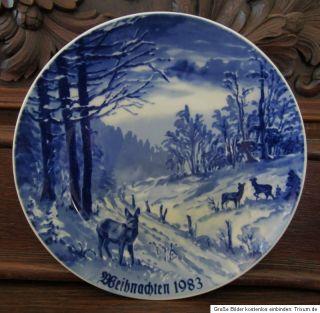 Weihnachtsteller 1983 Lichte DDR Echt Kobalt Fine China