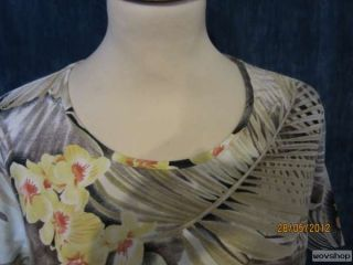 GK76 CANDA Damen Shirt Gr. 44 Florales Muster braun gelb orange