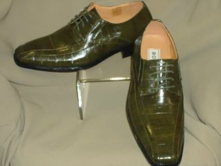 Mens Cool & Elegant Olive Green Eelskin Print Dress Shoes Bolano LZ982
