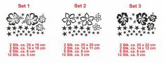 E135 Hibiskus Sterne Blume Set Auto Sticker Aufkleber