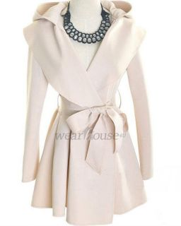 Cool Womens Ruffle Hooded Cotton Trench Coats 2 colors