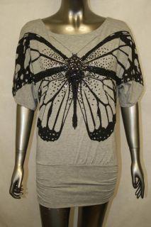 Neu Damen Shirt Fledermausärmel Schmetterling Druck Kurzärmelig Top