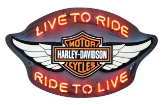 Harley Davidson ® Winged Bar&Shield Neon Wall Art