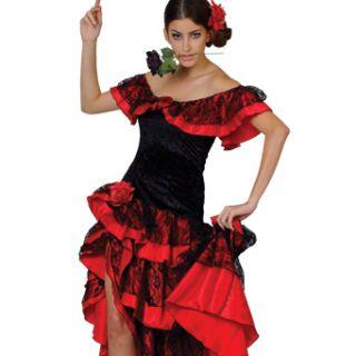 Kostüm Spanierin Senorita Erwachsene Party Salsa Verkleidung Größe