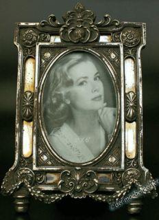 Bilderrahmen Fotorahmen Oval Rahmen silber Spiegel Nostalgie Antik