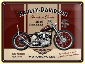 Licensed Harley Davidson Panhead Oldtimer Vintage Reproschild Blech