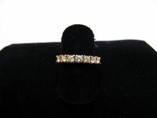 R714 585er 14kt Gelbgold Gold Ring klassisch, schmal mit 7 Brillanten