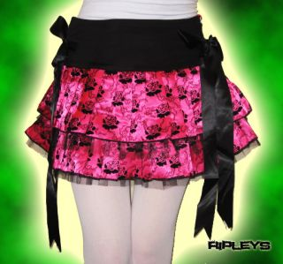 Ripleys Clothing   HELL BUNNY Mini Skirt THORN & ROSE Pink Emo/Tutu S
