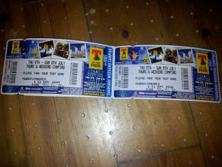 X2 T IN THE PARK TICKETS 2012 FULL WEEKEND THURS   SUNDAY WITH CAMPING