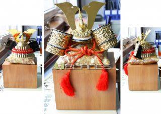 Rare Japanese Samurai Armour Warrior Kabuto Helmet With Display Box