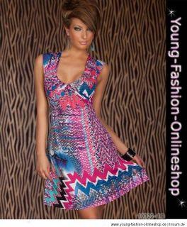10825 knielanges Kleid Stretch 34/36/38/40/42 Bunt Pink Blau Rot Grün