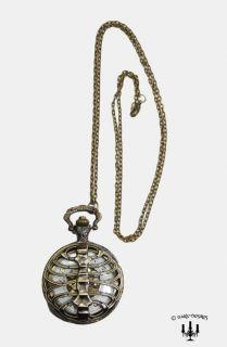 Morbid Ribcage skeleton Steampunk Schmuck Taschenuhr pocket watch